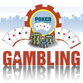 Abstract colorful background with poker chips poker cards and the word gambling written below with capital letters
