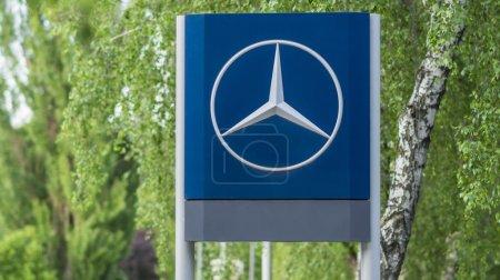 A big sign of a brand Mercedes-bens