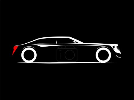 Silhouette of a luxury car on a black background