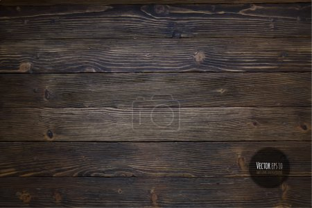 Illustration for Wood texture, vector  illustration. Natural Dark Wooden Background. - Royalty Free Image