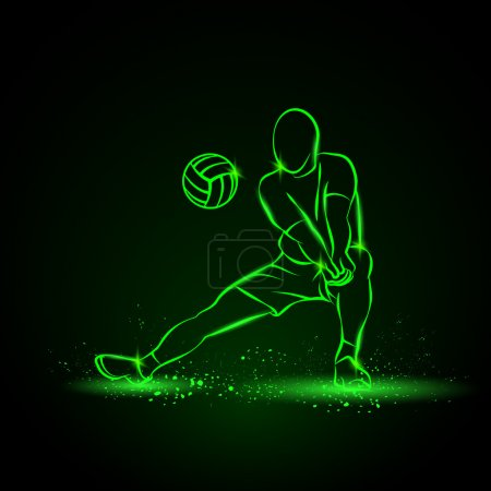 Volleyball player plays volleyball. Vector neon il...