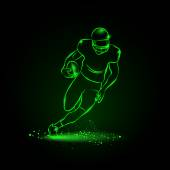 Football The player runs away with the ball neon style