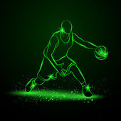 Basketball player with ball Neon style