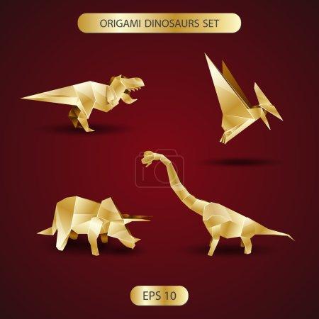 golden origami dinosaurs set