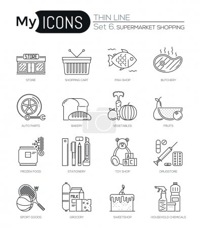 Modern thin line icons set of supermarket shopping process