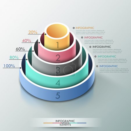 Illustration for Modern infographics options banner with 3d pyramid for 5 options made of colorful cylinders. Vector. Can be used for web design and  workflow layout - Royalty Free Image