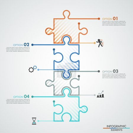 Illustration for Modern infographic options banner with 4 color puzzle elements. Vector. Can be used for web design and workflow layout - Royalty Free Image