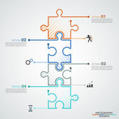 Modern infographic options banner with 4 color puzzle elements Vector Can be used for web design and workflow layout