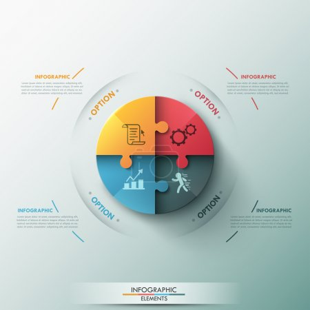 Illustration for Modern infographic options banner with circle made of 4 puzzle elements. Vector. Can be used for web design and workflow layout - Royalty Free Image