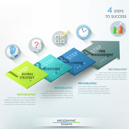 Illustration for Modern infographics options banner with 3d colorful arrow divided into 4 parts. Vector. Can be used for web design and  workflow layout - Royalty Free Image
