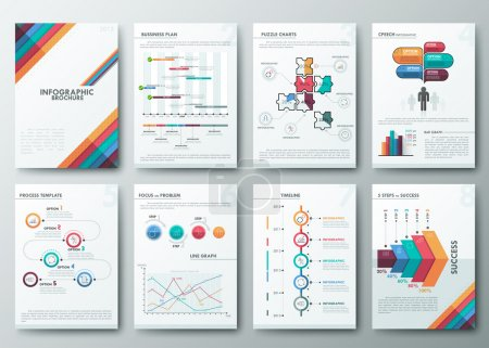 Illustration for Set of Flyer, Brochure Design Templates, Infographic vector elements. Modern styled graphics for data visualization. Can be used in website, flyer, corporate report, presentation, advertising - Royalty Free Image