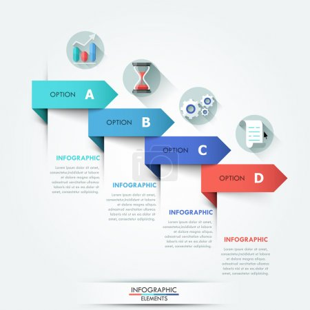 Illustration for Modern infographics options banner with 4 colorful paper ribbons. Vector. Can be used for web design and  workflow layout - Royalty Free Image