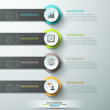 Illustration for Modern infographics process template with paper circles,ribbons and icons for 4 options. Vector. Can be used for web design and  workflow layout - Royalty Free Image