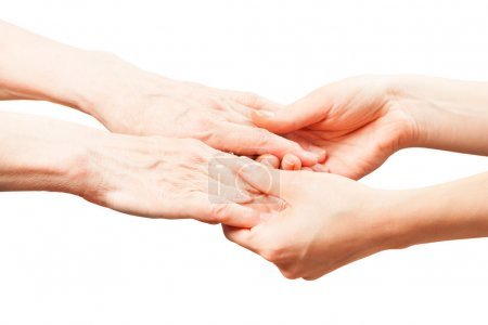 Photo for The hands of an old man with wrinkles . hands touch her daughter and mother. manifestation of tenderness and love. - Royalty Free Image