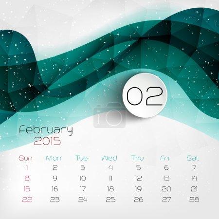 2015 Calendar. February. Vector illustration