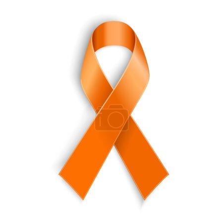 orange ribbon on white background.