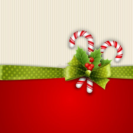 Photo for Holiday background with green polka dots ribbon and bow - Royalty Free Image