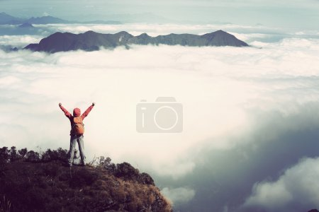 Photo for Cheering young woman hiker with open arms on mountain peak - Royalty Free Image