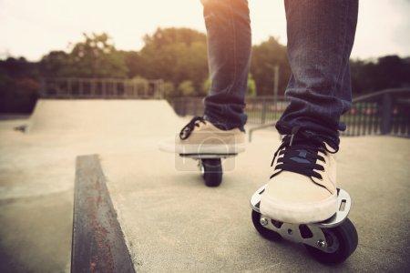 legs on free-line skate rollers