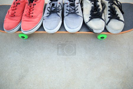 Photo for Sneakers and skateboard  skate park - Royalty Free Image