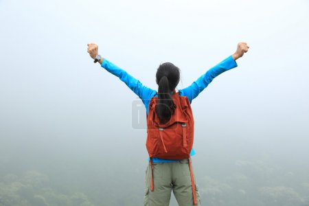 Photo pour Acclamant jeune asiatique femme avec les bras ouverts sur printemps montagne pic - image libre de droit