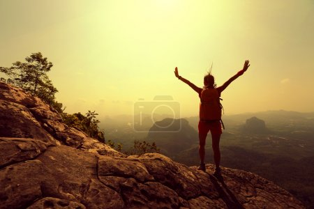 successful woman hiker