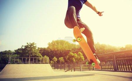 skateboarder's legs skateboarding
