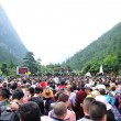 Tons of tourst queueing at the entrance of jiuzhai...