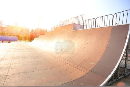 Half pippe in modern skatepark
