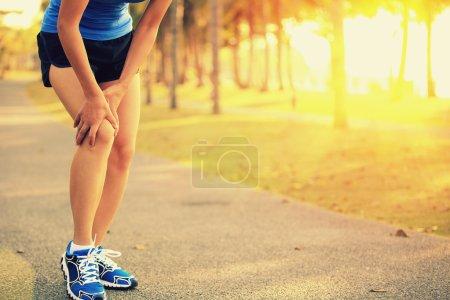 Woman injured leg