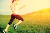 Runner athlete running on grass seaside. woman fitness sunrise or sunset jogging workout wellness concept.