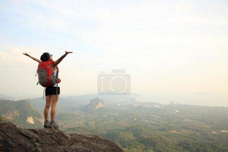 Cheering woman at mountain top