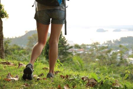 Female hiker feet hiking