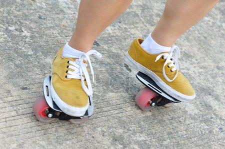 Legs practice freeline skateboard