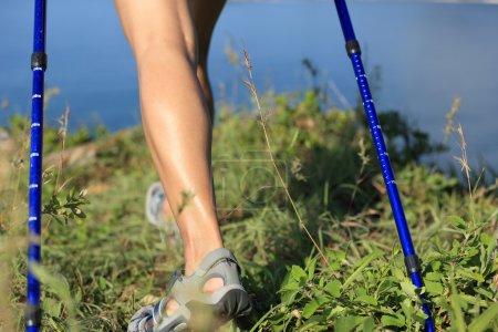 woman hiker legs
