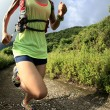 Young fitness woman running on mountain...