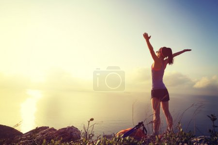 cheering  woman hiker on mountain peak
