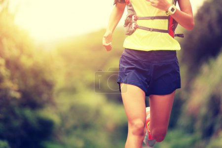 Young fitness woman trail runner running on trail...