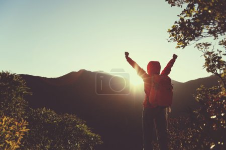 successful woman with open arms on peak