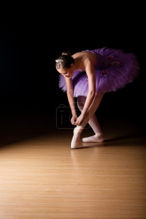 Young female ballerina wearing a lilac colored tut...