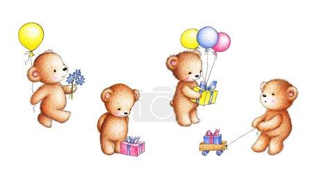 Foto de Colección de cuatro dibujos de ositos con globos, flores y cajas de regalo en fondo blanco - Imagen libre de derechos