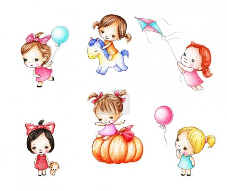 Photo for Collections of six drawings of little girls on white background - Royalty Free Image