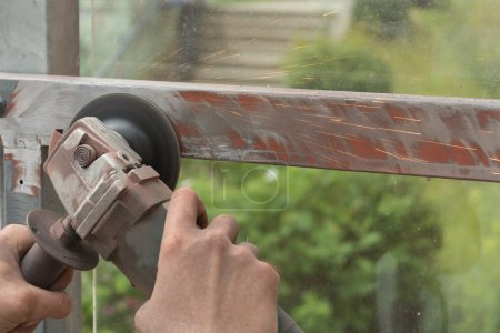 grinding metal with angle grinder