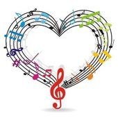 musical background with notes as heart