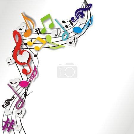 Illustration pour Musik fond avec des notes colorées - image libre de droit