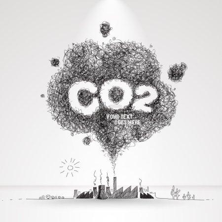 Vector Illustration of Air Pollution.