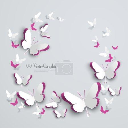 Illustration pour Papier 3D abstrait Papillons Découpe - image libre de droit