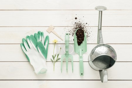 Spring - gardening tools, watering can and gloves on white wood