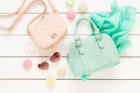 Pastel fashion accessories for girls on white
