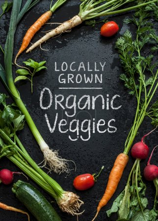 'Locally Grown Organic Veggies' poster design